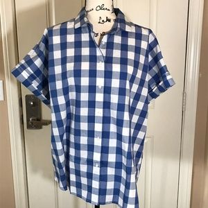 NWT CHAPS Blue/White Checked Button Front Blouse